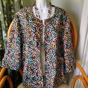 Kim Rogers Woman Print 3/4 Sleeve Jacket 1X